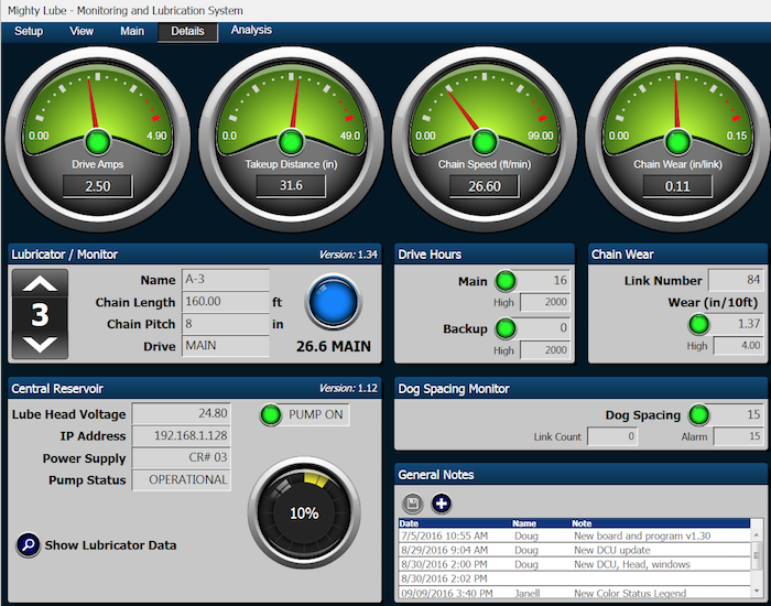 details tab on conveyor monitoring system software for maintenance technicians