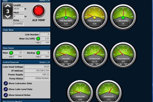 Detalle de la pantalla del software de monitoreo del transportador con información sobre una línea de transportador