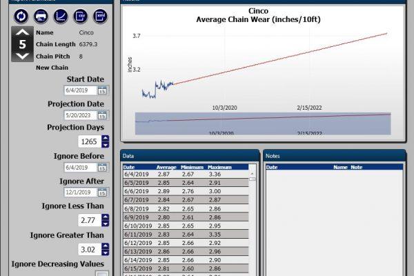 pantalla de monitoreo del transportador de proyección de desgaste de la cadena