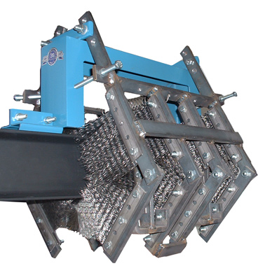 Model 400-I non-powered conveyor chain and trolley cleaning brushes installed on rail