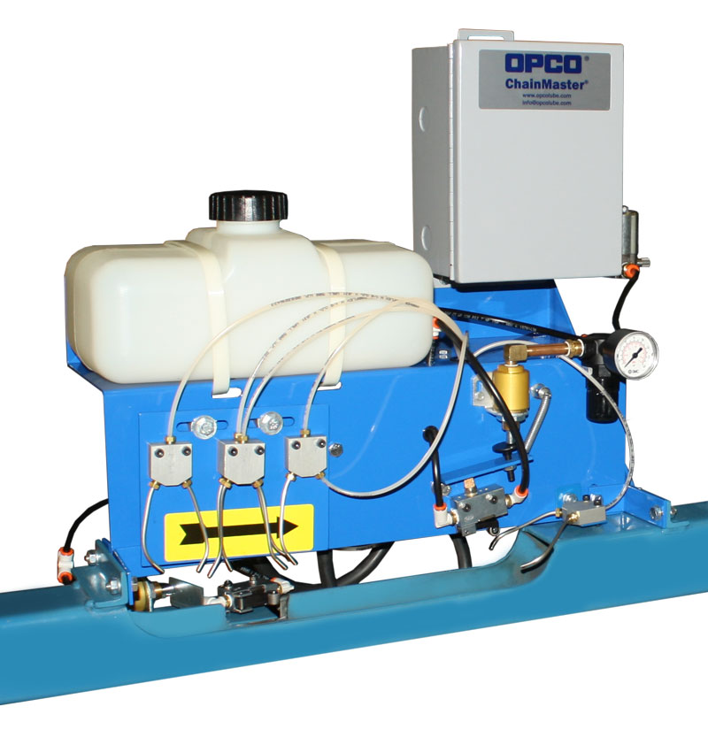 OPCO® Model OP-41A Air Operated Oiler Enclosed Track Conveyor Chain Lubricator
